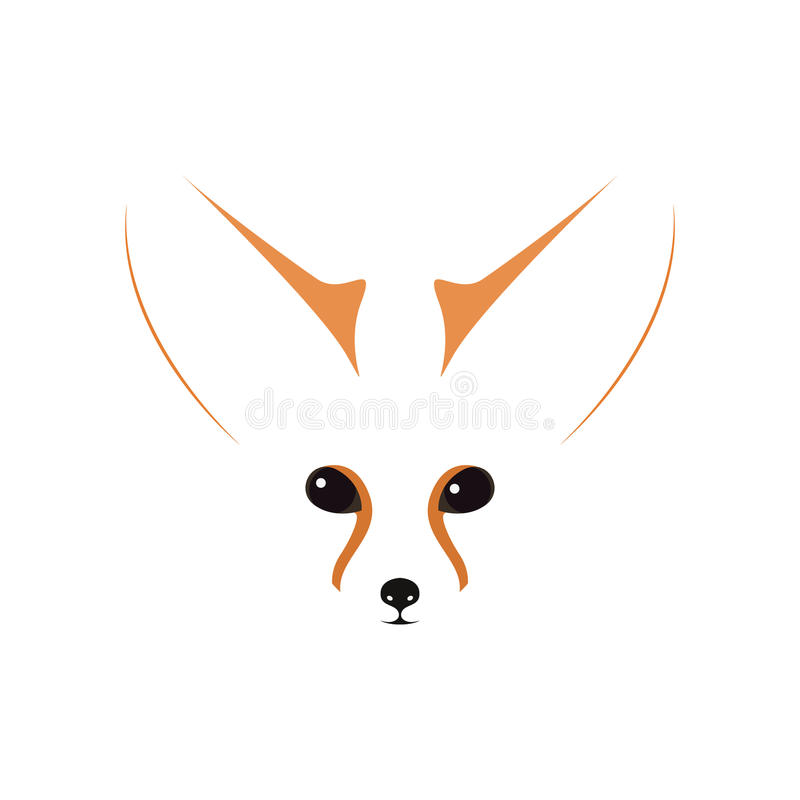 Fennec muzzle, eyes and ears. Contour vector illustration stock illustration