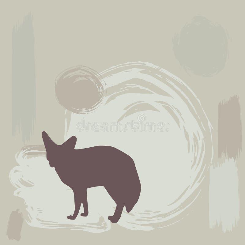 Fennec rävkontur på grungebakgrund vektor stock illustrationer
