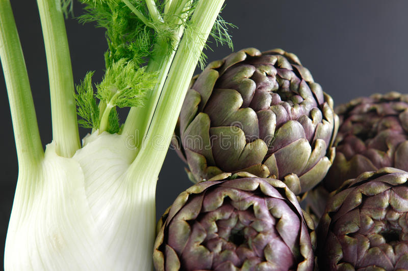 Fennel and artichokes royalty free stock image