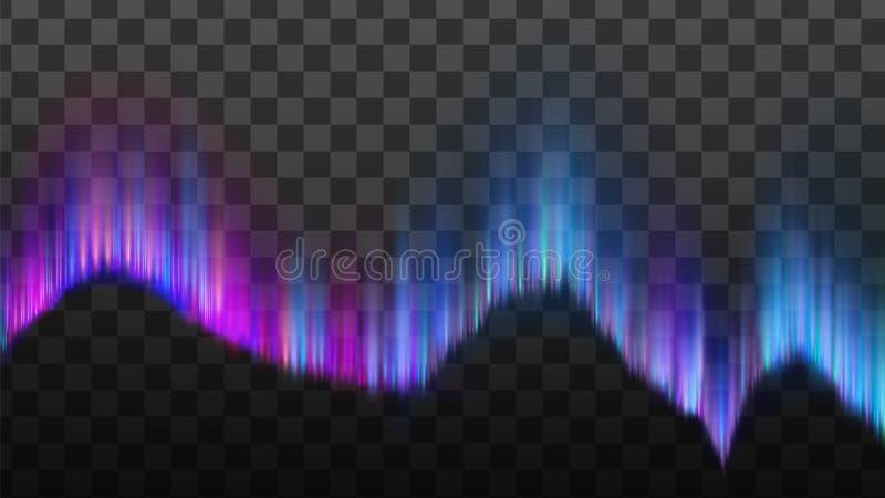 Fenomen arktiska nordliga Aurora Light Vector royaltyfri illustrationer
