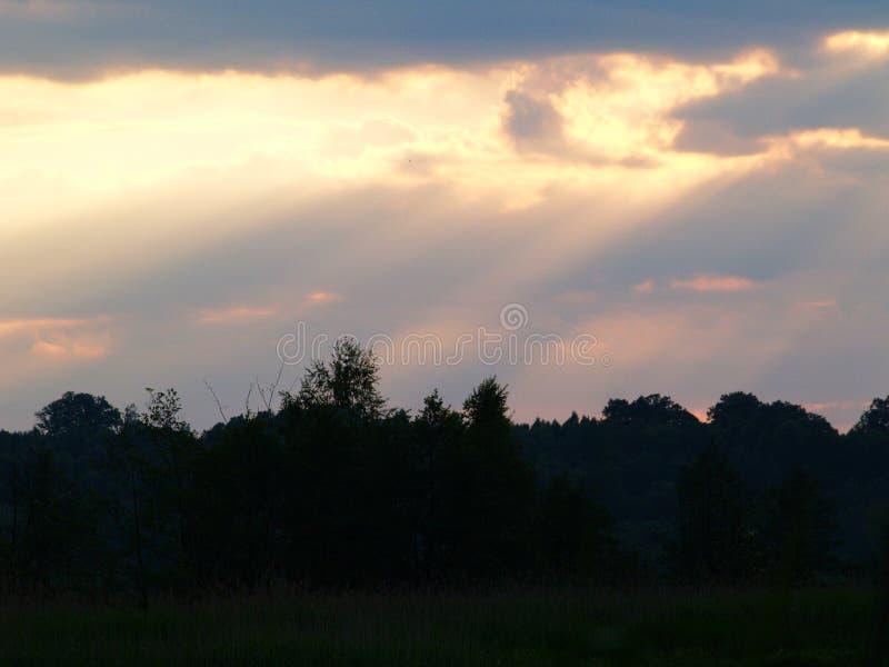 Fenomenal solnedgång fotografering för bildbyråer