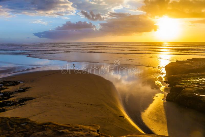 Fenomenal solnedgång på stranden royaltyfri fotografi