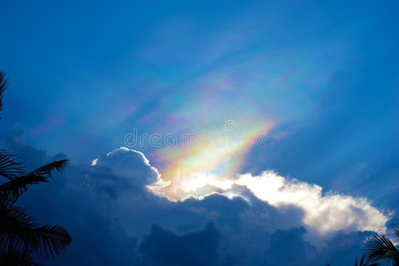 Fenomenalt regnbåge i blå himmel royaltyfri foto