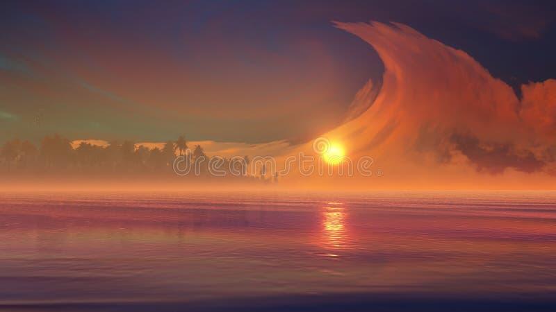 Fenomeni sconosciuti della nuvola sopra l'isola tropicale illustrazione vettoriale