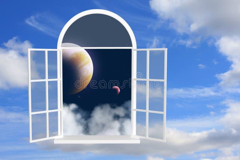 Fenster in anderer Galaxie stockbild