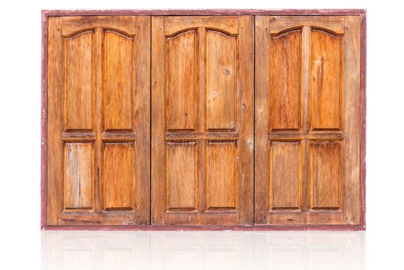 Fenster-Asiatsart der geschlossenen Reihe hölzerne stockfotografie
