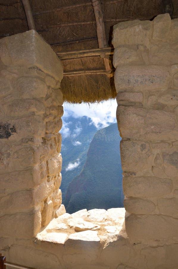 Fenster bei Machu Picchu lizenzfreie stockfotografie