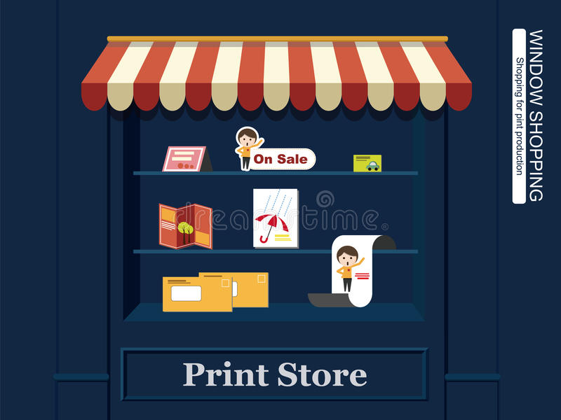 Fenster-Einkaufen für Druck-Produktionen lizenzfreie abbildung
