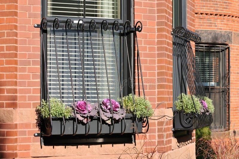 Fenster-Gitter auf Brownstone-Haus stockbilder