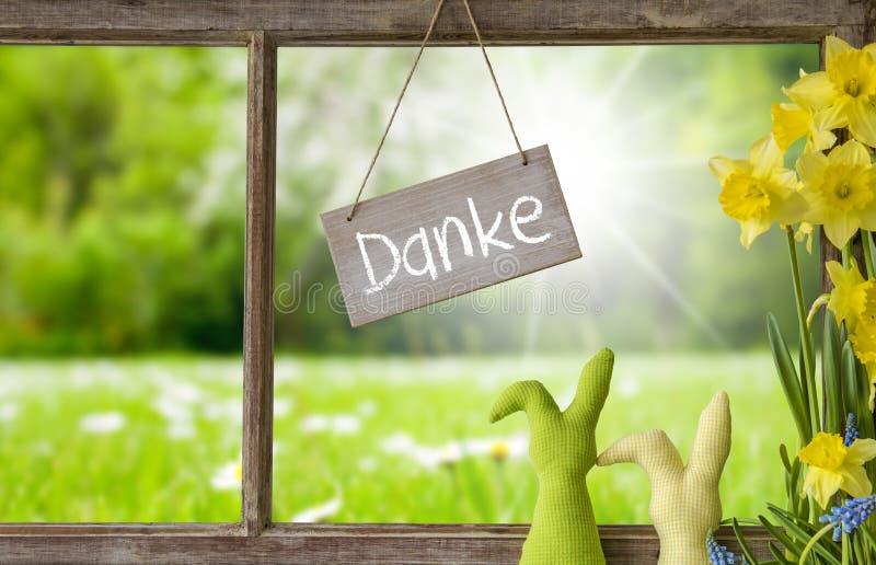 Fenster, grüne Wiese, Danke-Durchschnitte danken Ihnen stockfotos