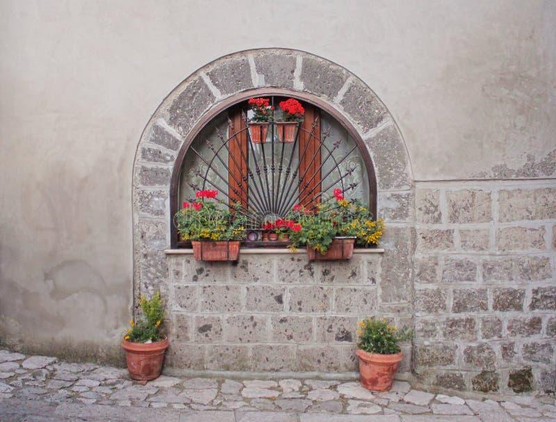 Fenster mit Anlagen und Blumen stockbild