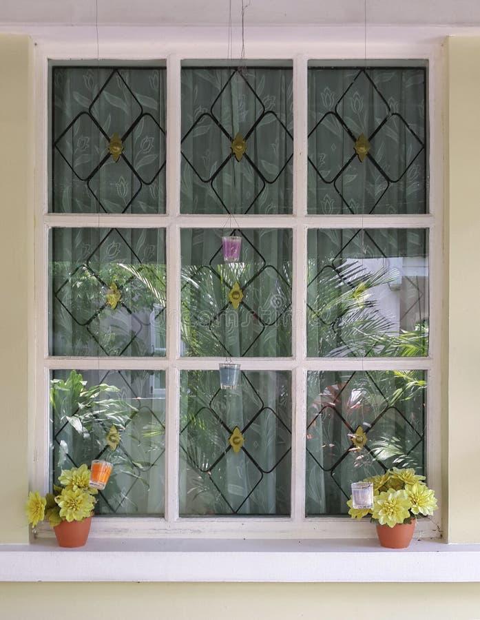 Fenster mit Blumenpotentiometern lizenzfreie stockbilder