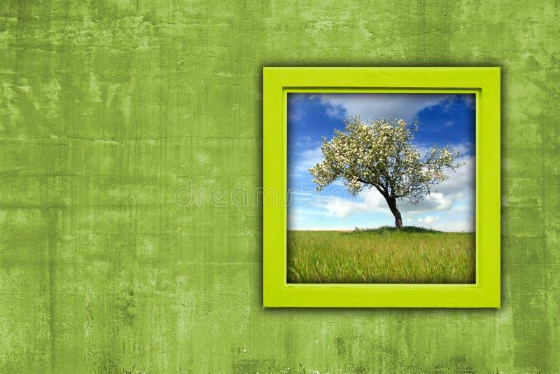 Fenster mit Frühlingslandschaftsansicht stockfotos