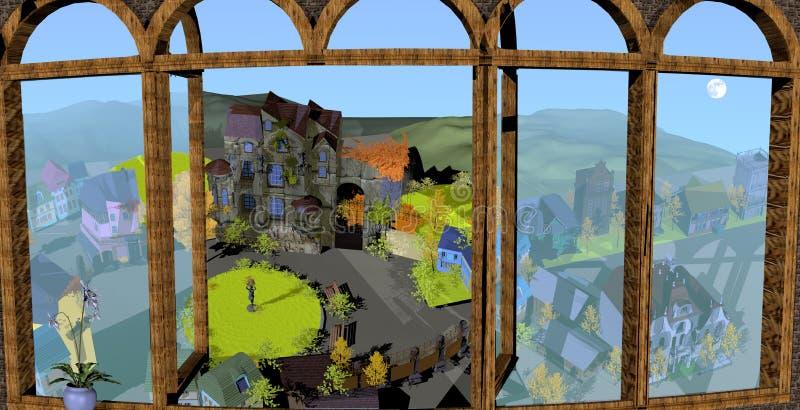 Fenster mit Landschaft und alten Häusern stockbilder