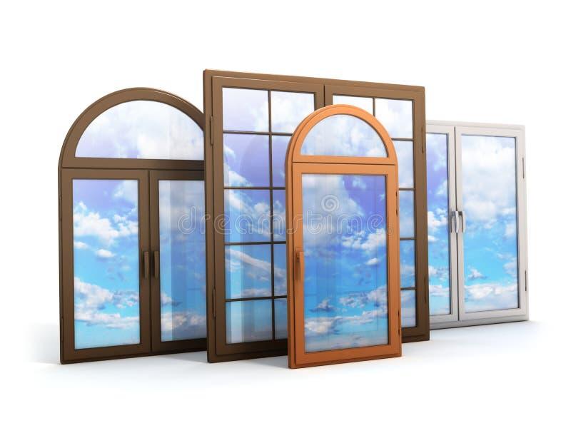 Fenster mit Reflexionen des Himmels stock abbildung