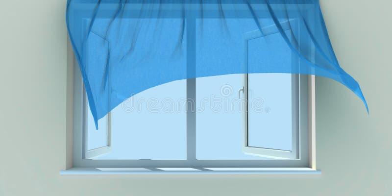Fenster und Trennvorhang lizenzfreie abbildung