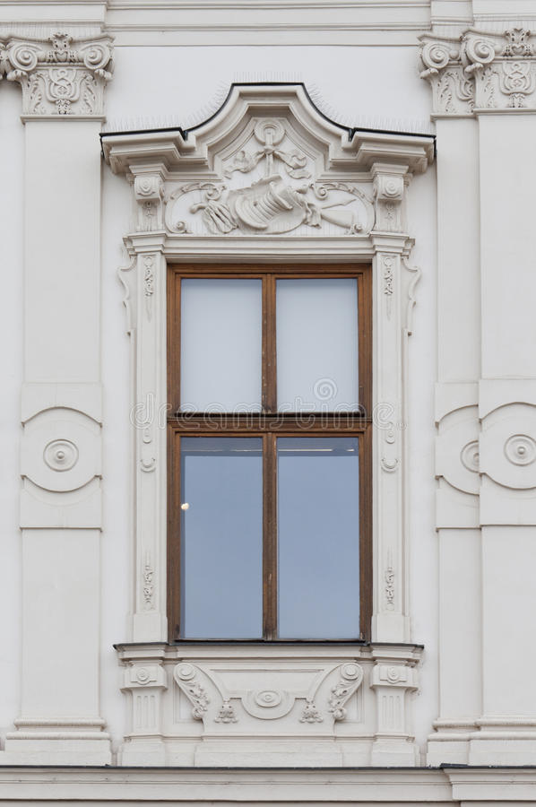 Fenster vom oberen Belvedere-Palast in Wien stockbild