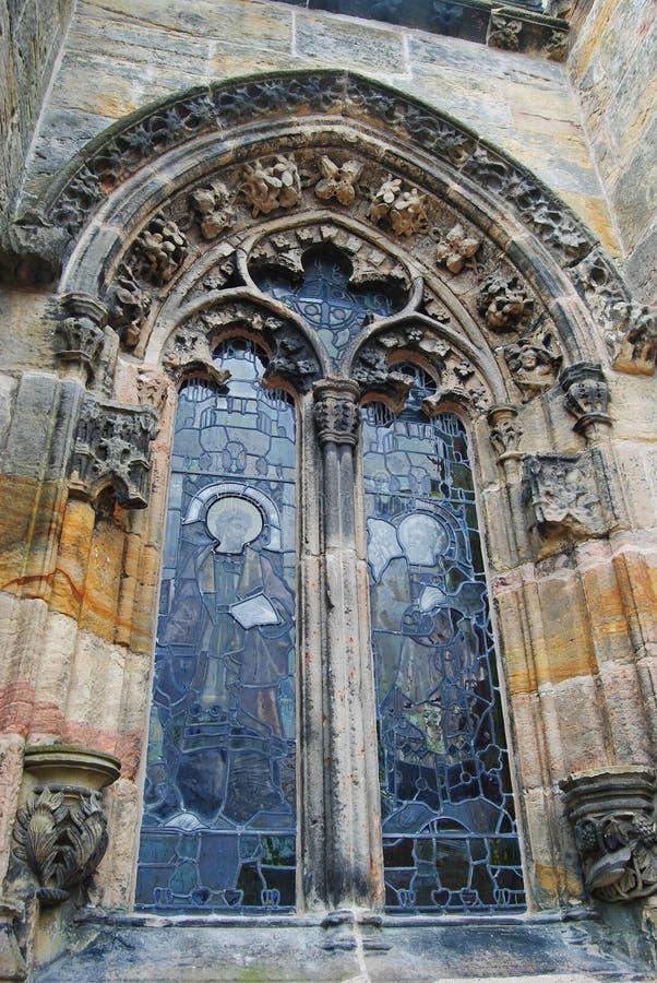 Fenster von Rosslyn-Kapelle lizenzfreies stockfoto
