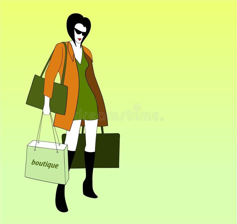 Fenstereinkaufen der jungen Frau stockbild