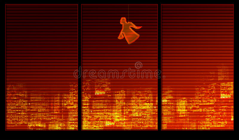 Fensterhintergrundserie. Ein Engel vektor abbildung