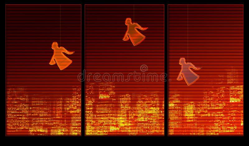 Fensterhintergrundserie. Engel auf dem Fenster lizenzfreie abbildung