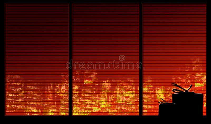 Fensterhintergrundserie. Geschenke Lizenzfreie Stockfotos
