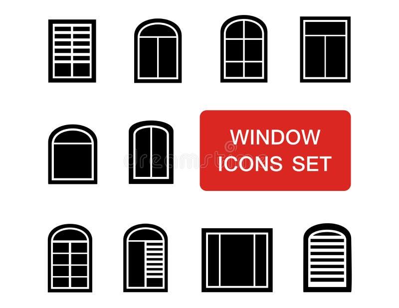 Fensterikonen eingestellt mit rotem Schild stock abbildung