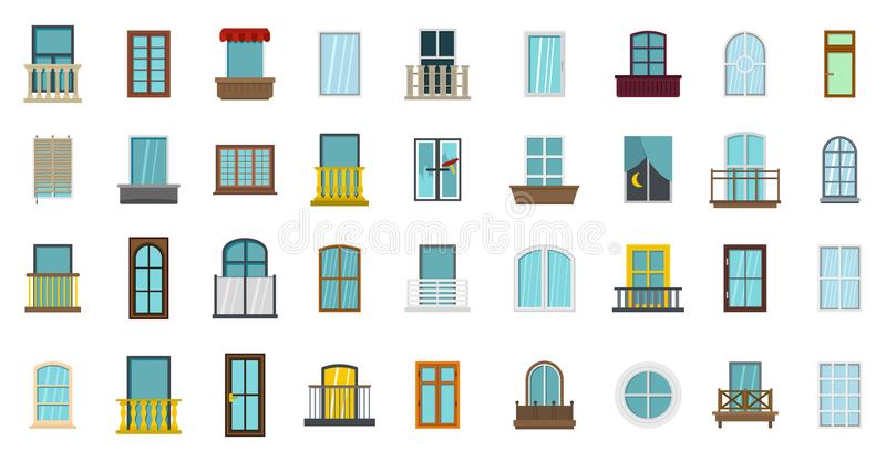 Fensterikonensatz, flache Art vektor abbildung