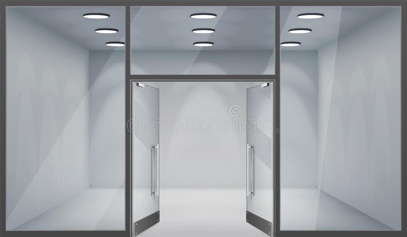 Fensterraumschablonenmodellhintergrund-Vektorinnenillustration des vorderen Geschäftes der offenen Türen 3d des Speichers leere r vektor abbildung