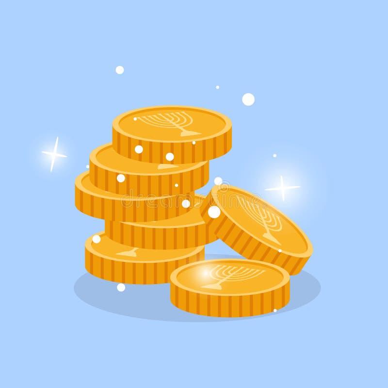 Fente d'or dans la pile avec le menorah illustration de vecteur