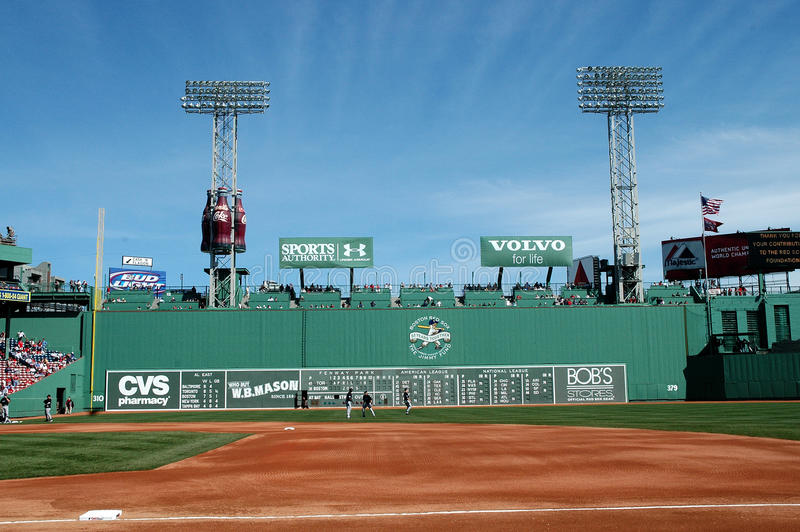 Fenway park. A look at the Green Monster, Fenway Park, Boston, MA stock images