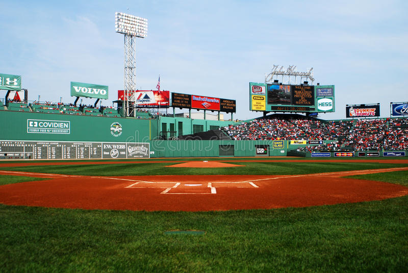 Fenway Park, Boston, MA. Field view looking out towards centerfield at Historic Fenway Park, Boston, MA stock photography