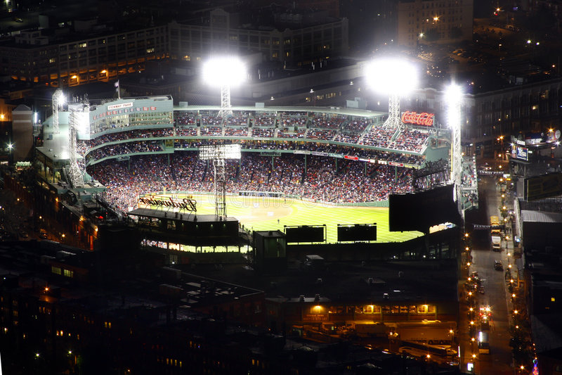 Fenway Park full view at night stock images