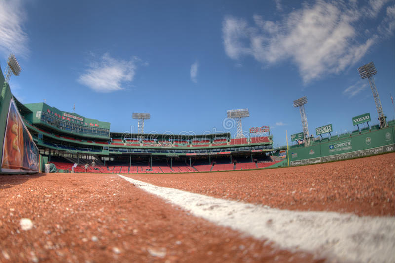 Fenway Right Field Line. A view inside Fenway Park from the ground along the right field line stock images