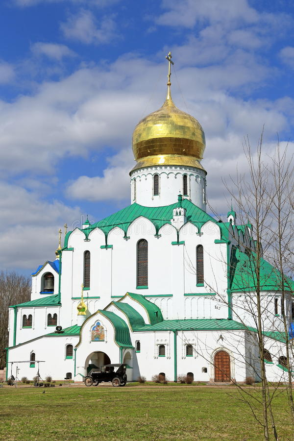 Feodorovsky宗主` s大教堂在镇附近的Tsarskoe Selo 库存图片