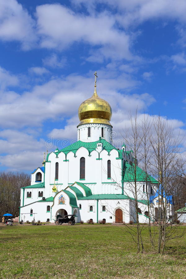Feodorovsky宗主` s大教堂在镇附近的Tsarskoe Selo 图库摄影