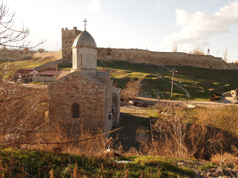 feodosia堡垒热那亚人的城镇乌克兰 免版税库存照片