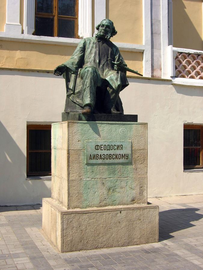 Monument to famous Russian painter Ivan Aivazovsky in Feodosiya, Ukraine. Feodosiya, Ukraine - August 20, 2008: Monument to famous Russian painter Ivan stock image