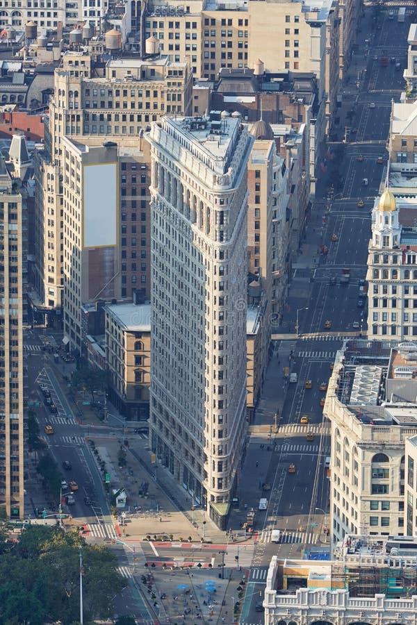 Fer à repasser établissant la vue aérienne pendant le matin, New York photo libre de droits