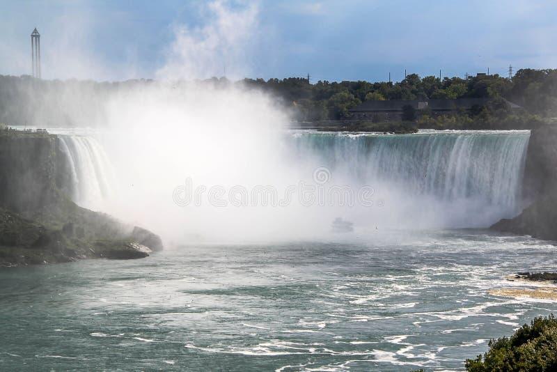 Fer ? cheval de chutes du Niagara ontario canada Beau fond de cascade ? ?criture ligne par ligne image libre de droits