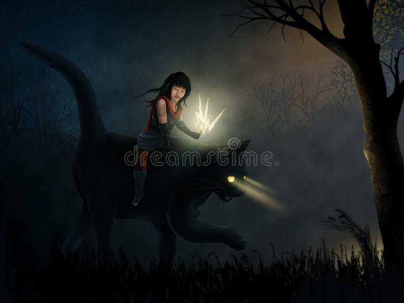 Feral. Surreal painting of a tattooed girl riding a black cat through a dark and moody forest vector illustration
