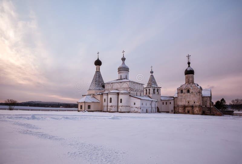 Ferapontov Monastery in winter at dawn stock image