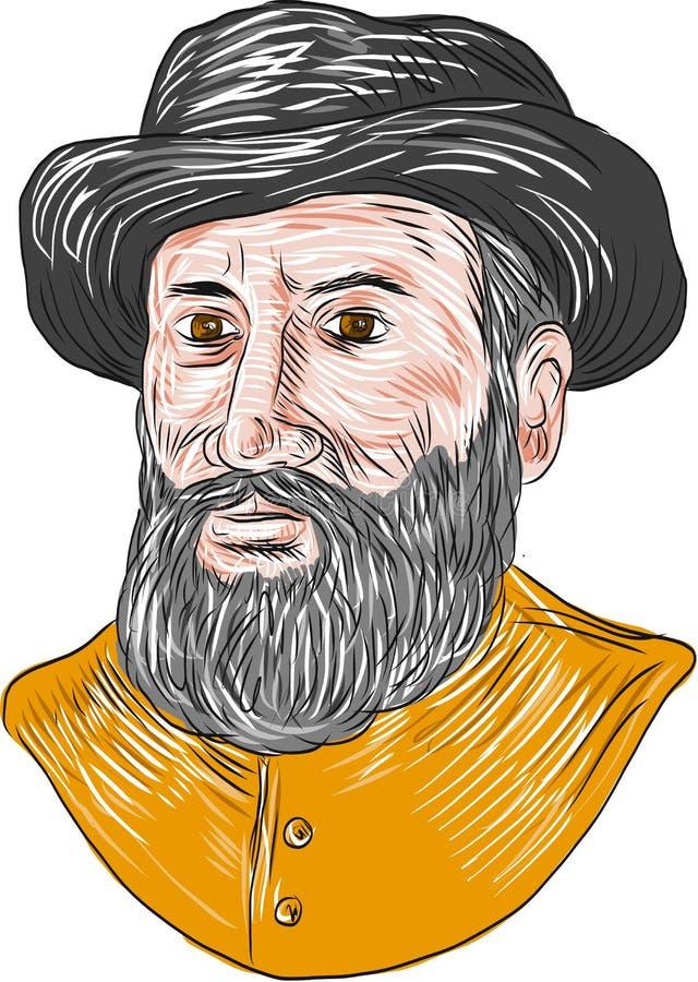 Ferdinand Magellan Bust Drawing ilustração do vetor