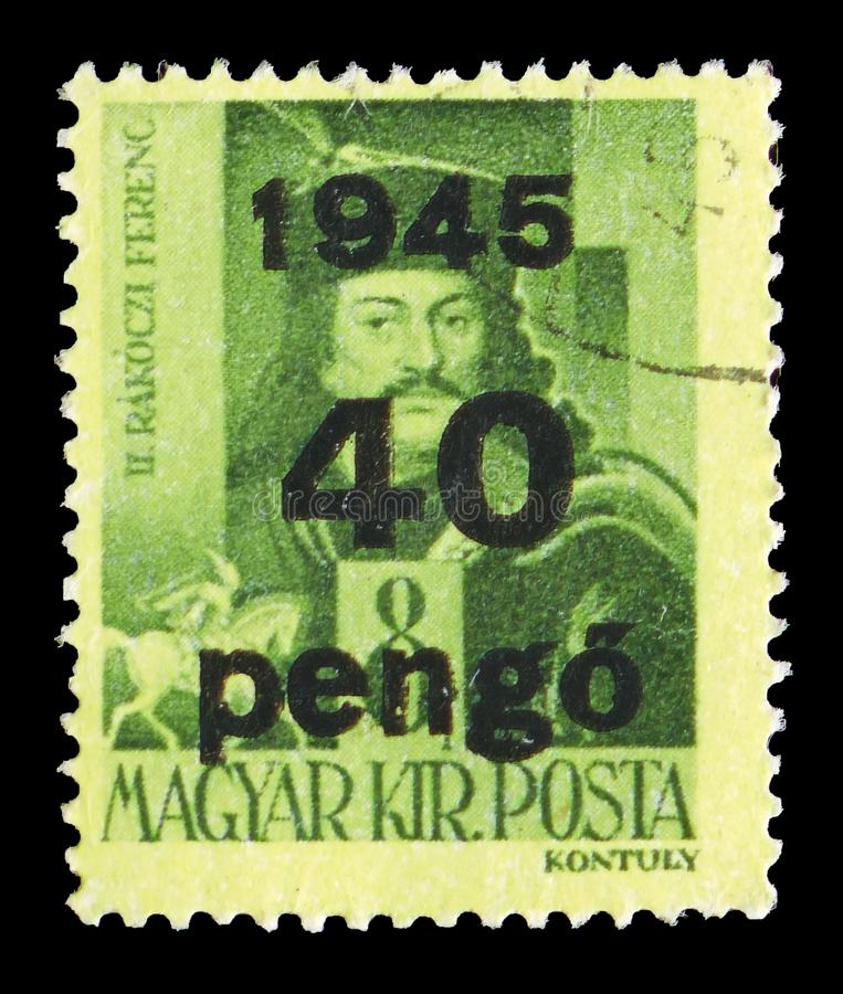 Ferenc II Rakoczi, Surcharged serie, circa 1945. MOSCOW, RUSSIA - JULY 19, 2019: Postage stamp printed in Hungary shows Ferenc II Rakoczi, Surcharged serie stock photos