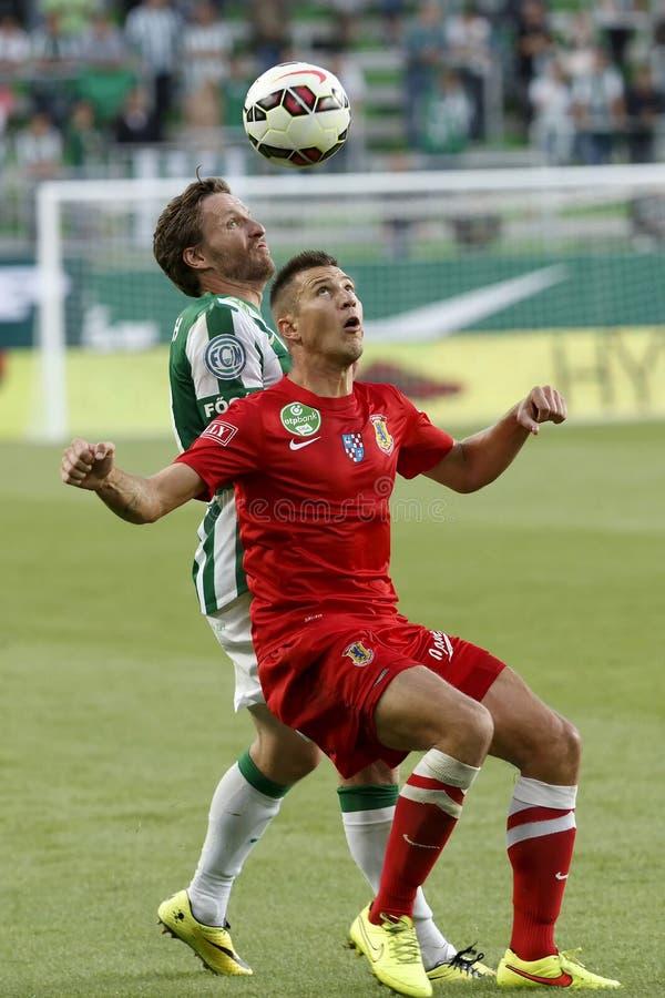 Ferencvaros对 多瑙新城OTP银行同盟足球比赛 库存图片