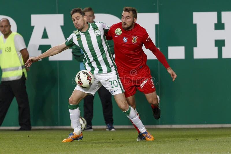 Ferencvaros对 多瑙新城OTP银行同盟足球比赛 免版税图库摄影