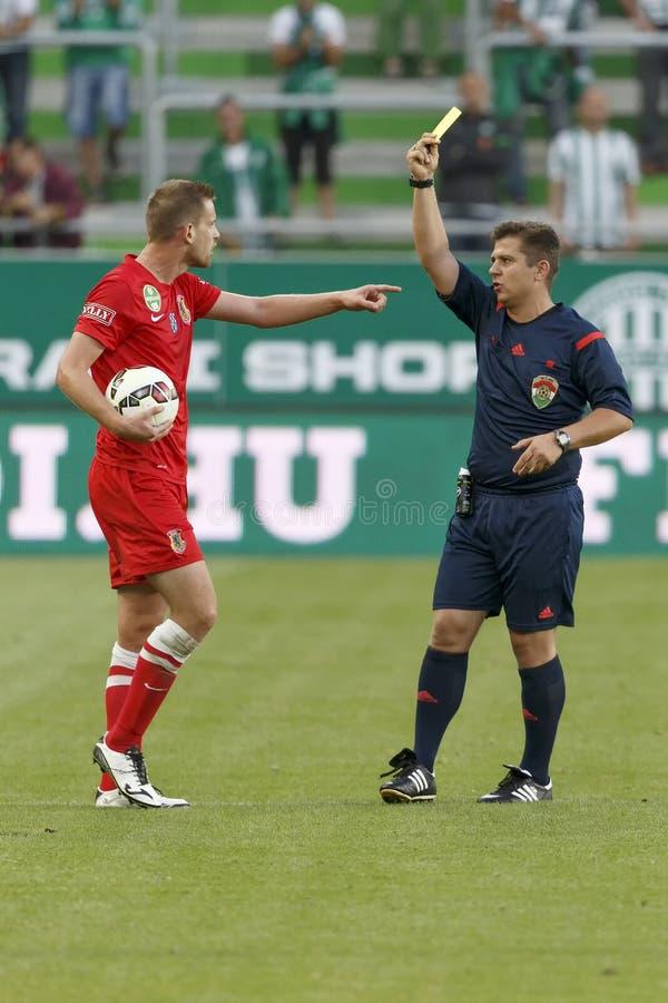 Ferencvaros对 多瑙新城OTP银行同盟足球比赛 库存照片