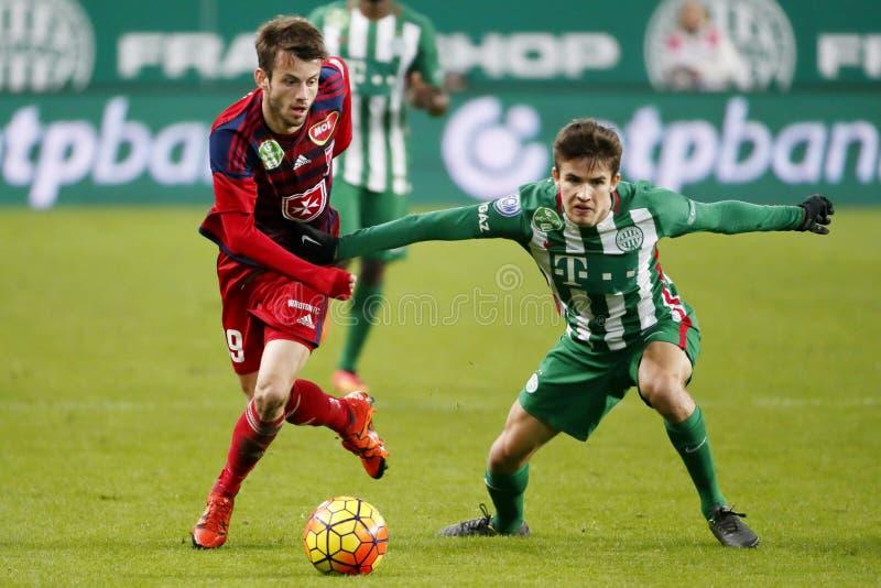Ferencvaros - αγώνας ποδοσφαίρου ένωσης τράπεζας Videoton OTP στοκ εικόνα