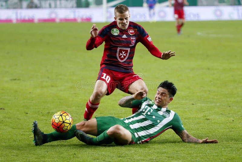 Ferencvaros - αγώνας ποδοσφαίρου ένωσης τράπεζας Videoton OTP στοκ εικόνες