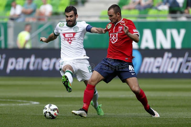 Ferencvaros εναντίον Αγώνας ποδοσφαίρου ένωσης τράπεζας Videoton OTP στοκ εικόνα